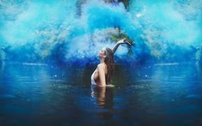 Picture girl, smoke, blue, lake