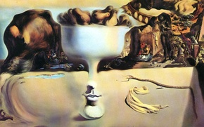 Picture surrealism, picture, salvador dali, Salvador Dali, painter, 1938, the phenomenon of face and fruit bowl ...