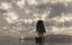 Wallpaper Sailboats, The sky, Water