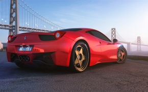 Picture Ferrari, Red, 458, Bridge, Vintage, Italia, Supercar, Wheels, HRE