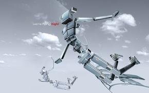 Wallpaper clouds, flight, Robots
