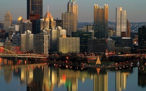 Picture city, the city, USA, Pennsylvania, Pittsburgh, Christmas and New Year
