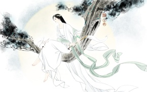 Picture girl, mood, the wind, branch, rabbit, art, Bunny
