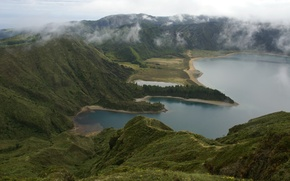 Picture landscape, mountains, nature, lake, top, Portugal, Azores