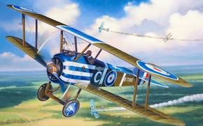 Picture the plane, fighter, battle, art, air, British, single, aircraft, known, maneuverability, among, those, great, WWI., …