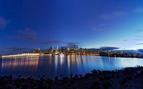 Picture water, night, the city, lights, reflection, stones, home, Canada, Vancouver, Canada, British Columbia, Downtown Vancouver
