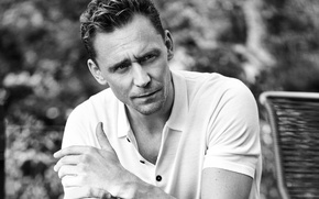 Picture portrait, black and white, Esquire, Eric Ray Davidson, actor, t-shirt, Tom Hiddleston, Tom Hiddleston, bokeh, ...