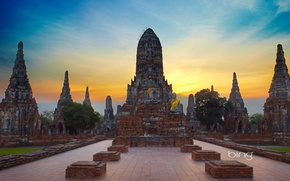 Picture the sky, clouds, Thailand, temple, ruins, Buddha, Ayutthaya, Wat Chai Wattanaram