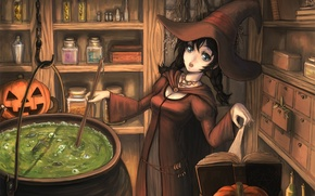 Wallpaper hat, halloween, book, pumpkin, boiler, girl, brew, witch