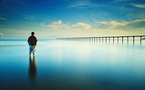 Picture sea, blue, reflection, mirror, horizon, pierce, male, infinity, clouds sky