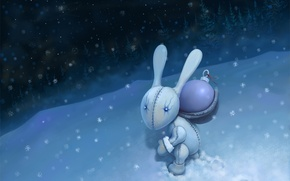 Picture snow, night, new year, Bunny