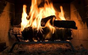 Wallpaper fire, wood, fireplace