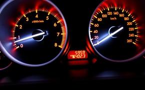 Picture speed, blur, Speedometer, car, bright colors