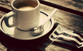 Wallpaper saucer, candy, table, Cup, coffee, spoon
