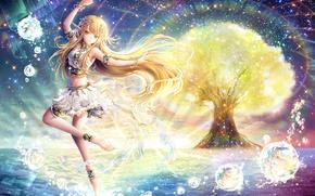 Picture water, tree, elf, ears, anime, art, girl, riyun