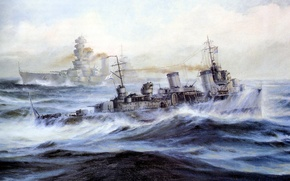 Picture Navy, canvas, ship, oil, picture, art, The great Patriotic war, squirt, Tashkent, sea, The black ...