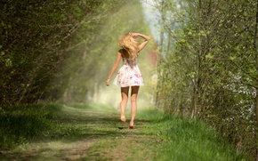 Wallpaper figure, gait, loose, trees, Yana Kuzmina, girl, green, back, model, dress, forest, spring, Anton Pechkurov, ...