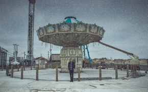 Picture winter, snow, male, carousel