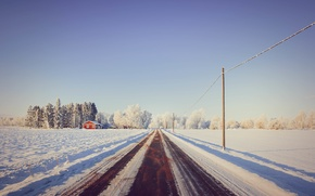Picture road, snow, trees, house, house, road, trees, snow, power lines, power line