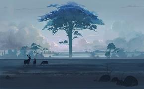 Picture animals, clouds, stones, tree, art, deer