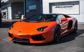 Picture Lamborghini, orange, Aventador, San francisco