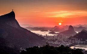 Picture landscape, sunset, mountains, the city, panorama, Rio de Janeiro
