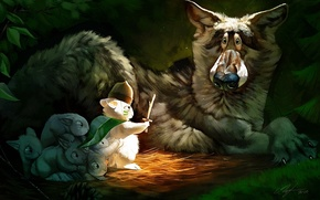 Picture fright, wolf, rabbit