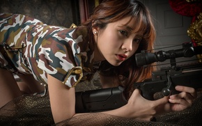 Wallpaper look, girl, face, camouflage, Asian, sniper rifle