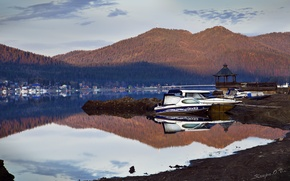 Picture water, landscape, mountains, nature, surface, dawn, earth, shore, boat, morning, yacht, Altay