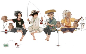 Picture fishing, art, guys, Hoozuki no Reitetsu, Kusuriuri Dark, Mononoke, Kusuriuri, Cross-Over, Hoozuki, Hakuta the