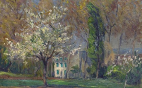 Picture trees, landscape, house, picture, spring, Henri Lebacq, Landscape with House