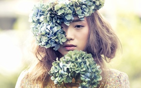 Wallpaper flowers, wreath, mood, hydrangeas, Asian