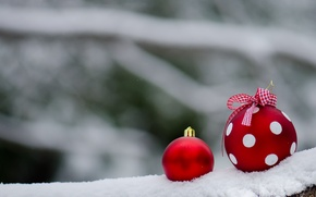 Picture snow, balls, polka dot, red, New year, decoration, bow, Christmas