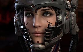 Wallpaper look, wire, girl, cyborg, helmet, cyberpunk, fiction