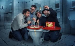 Picture food, humor, the toilet, men