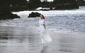 Picture wave, girl, stones, the wind, dress, surf