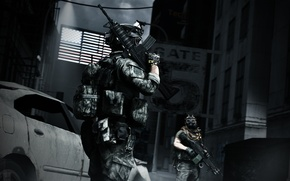 Picture the city, weapons, soldiers