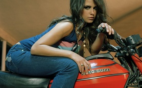 Picture look, girl, jeans, ring, Mike, actress, brunette, motorcycle, chain, beautiful, Jordana Brewster, Jordana Brewster, cute