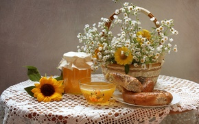 Picture summer, chamomile, sunflower, bouquet, texture, honey, still life, gelenium, bagel