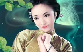 Wallpaper feimo, branch, art, decoration, leaves, girl, cinema, Asian