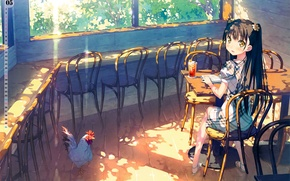 Picture the sun, table, Windows, chairs, chicken, may, girl, veranda, by kantoku