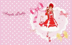Picture heart, red, lace, bag, bows, red dress, pink background, cosplay, polka dot, bombski, Kapor, Angelic …
