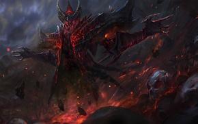 Picture fantasy, darkness, fire, magic, skull, the demon, art, diablo, fan art