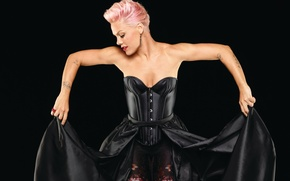 Picture pose, Pink, singer, corset, Pink