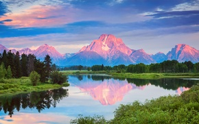 Picture forest, summer, water, clouds, reflection, mountains, morning, USA, national Park, Grand Teton, Wyoming, July, Oxbow ...