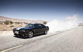 Picture mountains, black, desert, smoke, Dodge, SRT8, Challenger, black, Dodge, 392, racing stripes, Challenger, burns rubber
