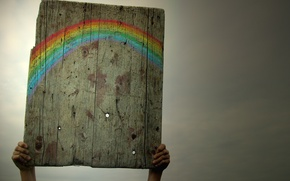 Wallpaper the sky, rainbow, plate