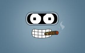 Wallpaper look, Futurama, cigar, Bender, Futurama