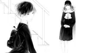 Picture girls, art, ladder, form, bow, Schoolgirls, backpack, Sawasawa