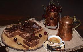 Picture cherry, coffee, pie, dessert